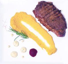New York Strip steak with mashed sweet potato and blue cheese sauce ! Blue Cheese Sauce, Strip Steak, Mashed Sweet Potatoes, New York, Meat, Food, Sweet Potato Mash, New York City, Blue Cheese Dips