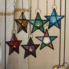 Top European style colored stars candle holder Morocco lamp candle holder home decoration wedding bar supplies - Cheap Candle Holders, Lantern Candle Holders, Candle Lanterns, Star Lanterns, Hurricane Candle, Ceiling Hanging, Hanging Candles, Hanging Lights, Moroccan Colors