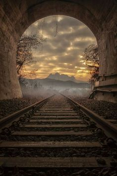 """Our life is a constant journey, from birth to death. The landscape changes, the people change, our needs change, but the train keeps moving. Beautiful World, Beautiful Places, Beautiful Pictures, Beautiful Sunset, Train Tunnel, Old Trains, Train Tracks, Amazing Nature, Beautiful Landscapes"