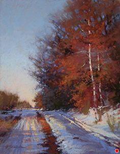 Winter Reds by Barbara Jaenicke Pastel ~ 14 x 11 Pastel Landscape, Winter Landscape, Abstract Landscape, Landscape Paintings, Painting Snow, Winter Painting, Pastel Artwork, Pastel Paintings, Winter Szenen
