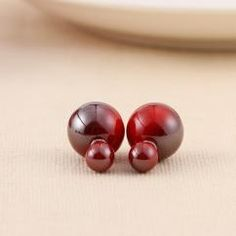RED SHINING BIG PEARL STUD EARRINGS