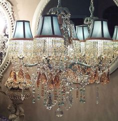 Glacier Blue and Pale Peach Crystal Chandelier with Matching Shades