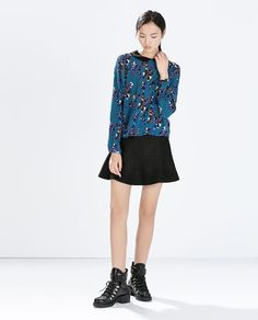 ZARA - WOMAN - SHIRT WITH CONTRASTING PRINT