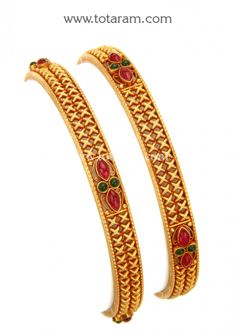 Gold Bangles - Set of 2 Pair) (Temple Jewellery): Totaram Jewelers: Buy Indian Gold jewelry & Diamond jewelry Gold Bangles For Women, Gold Bangles Design, Jewelry Design, Gold Temple Jewellery, Gold Jewelry, Diamond Jewelry, India Jewelry, Jewels