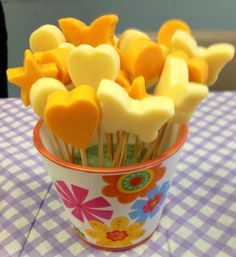 I made this cheese bouquet for my friends' baby shower using the Pop Chef. #cheese #babyshower #PopChef #cute #butterfly #hearts #stars #party