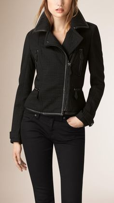Textured Cotton Wool Biker Jacket   Burberry