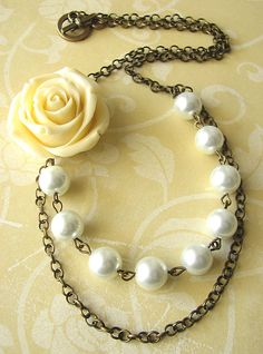 Bridal Jewelry Pearl Necklace Bridal Wedding Jewelry Flower Necklace Statement Jewelry. $30.00, via Etsy.