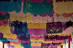 "tlalok: "" lacasaazulbookstore: "" text-mode: "" Papel picado (""perforated paper"") is a decorative craft made out of paper cut into elaborate designs. In Mexico, papel picado is especially incorporated. Art For Kids, Crafts For Kids, Origami, Paper Art, Paper Crafts, Diy Paper, World Thinking Day, Paper Banners, Mexican Folk Art"