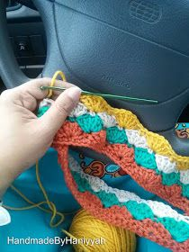 Handmade by Haniyyah: Car Steering Wheel Crochet Cover Easy Beginner Crochet Patterns, Crotchet Patterns, Crochet Stitches, Knitting Patterns, Yarn Projects, Crochet Projects, Crochet Ideas, Crochet Car, Crochet Clothes