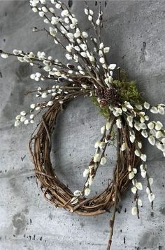 Wreath, Swag and Garland Design Xmas Wreaths, Easter Wreaths, Door Wreaths, Willow Wreath, Grapevine Wreath, How To Make Wreaths, Diy Wreath, Plant Decor, Easter Crafts