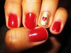 Red and Gold Nail Art #Valentines #hearts