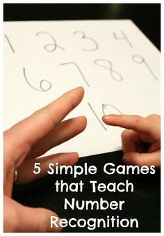 5 Simple Games for Teaching Number Recognition These number recognition games are simple, don't require any fancy materials, and my preschoolers love to play them
