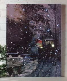 Loving this Winter's Night Ride Lighted Canvas on #zulily! #zulilyfinds