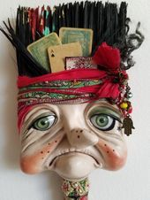 Paper clay over recycled paintbrush, Fortune Teller MIMI Paper clay over recycled paintbrush, Fortune Teller MIMI Paint Brush Art, Paint Brushes, Clay Crafts, Arts And Crafts, Found Object Art, Funky Art, Paperclay, Assemblage Art, Recycled Art