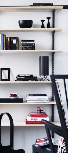 Original black Inga™ candle holder by freemover.se Maria L Dahlberg in Norrgavel shelf