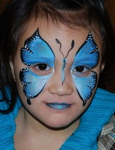 #Blue butterfly face painting design    http://makinbacon.hubpages.com/hub/butterflyfacepaintingchildrentutorialsvideosphotoshalloween