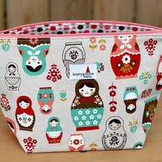 Nesting dolls 2-skein zippered project clutch