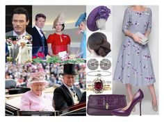 """""""Attending Day Two of the Royal Ascot with members of her family and meeting the Crown Princely Couple of Denmark"""" by marywindsor ❤ liked on Polyvore featuring Philip Treacy, Nally and Roberto Cavalli"""