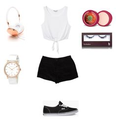 """Untitled #367"" by maximo-barbie ❤ liked on Polyvore featuring Monki, T By Alexander Wang, Vans, Frends, BBrowBar and Marc by Marc Jacobs"