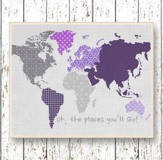 0127    Print Kids wall art featuring a world map in gorgeous Purple and gray colors, with quote: Oh, the places youll go. Wonderful print for the