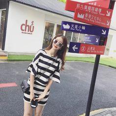 Korean Stripe Loose T Shirt And Skirt, Php501.00