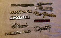 Vintage Lot Metal/Plastic old car auto emblems hot rod rat rod custom #6