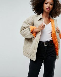 Order ASOS Denim Wadded Jacket in Stone online today at ASOS for fast delivery, multiple payment options and hassle-free returns (Ts&Cs apply). Get the latest trends with ASOS. Party Jackets, Team Jackets, Asos, Coats For Women, Jackets For Women, Casual Outfits, Fashion Outfits, Fall Outfits, Mannequin