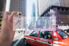 Stock Photo : Scene of taking a taxi, talking with smart glasses