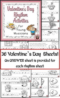 ♦ This PDF file contains 36 rhythm worksheets.   VALENTINE'S DAY music worksheets!!     ♦ The student is asked to count the number of beats in the boxes and write the answer on a VALENTINE'S DAY related image.