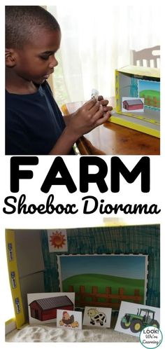 Looking for a simple kid-friendly craft? This farm shoebox diorama craft is perfect for little ones and only requires a couple of supplies! Indoor Play, Shoe Box, Grandchildren, Diorama, Apples, Little Ones, Homeschooling, Parenting, Tech