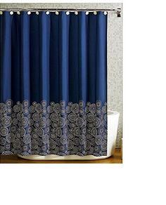 71 Inch X Cm 180 Polyester Fabric Color White Navy Blue Machine Wash Miriam Wolfson Shower Curtains