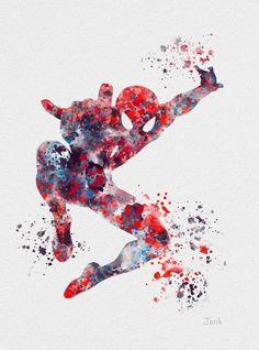 "Spiderman ART PRINT 10 x 8"" illustration, Superhero, Home Decor, Wall Art, Marvel"