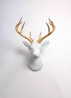 Ciervos pared montaje decoración Alfred de XL blanco y