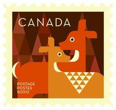 'Deer' Dale Nigel Goble stamp design for Canada Post.  Via Canadian Design Resource.