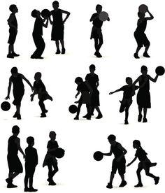 Vectores libres de derechos: Kids Playing Basketball