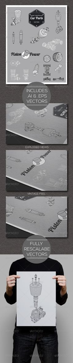 RC Car Parts and Exploded View Vectors