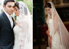 gorgeous updo hairstyle and mantilla veil
