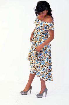 Ankara Clothing : Off Shoulder Maxi Dress. Shirred