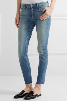 Mother - Looker Distressed Mid-rise Skinny Jeans - Light denim - 26