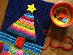 a woolly crochet christmas card from my fave crochet blog, attic24.