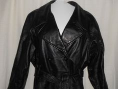 PRESTON & YORK Women 100% LEATHER Coat/Jacket Size PS Petite Small Belted #PrestonYork #Trench