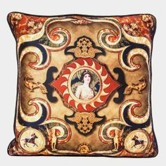 Royal Hallucinations Cushion Cover  http://www.tadpolestore.com/ #cushion cover #victorian #vintage #silk #poly dupion #grand #carnival #New York #casino #money #home #interiors