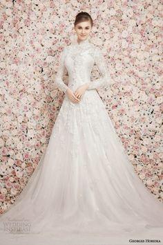 traditional catholic long sleeve lace high collar wedding dress | dresses islamic wedding dresses long sleeved wedding dresses muslim ...