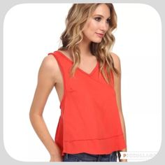20% Off! NWT Free People Cupcake Y Back Tank This is a cute orange red top! Looks great with jeans or shorts! Super cute top Free People Tops Tank Tops