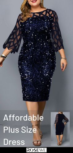 Navy Plus Size Dresses, Plus Size Outfits, Blue Dresses, Plus Size Dresses To Wear To A Wedding, Navy Sequin Dress, Long Plaid Skirt, Dress Code Casual, Mother Of Groom Dresses, African Fashion Dresses