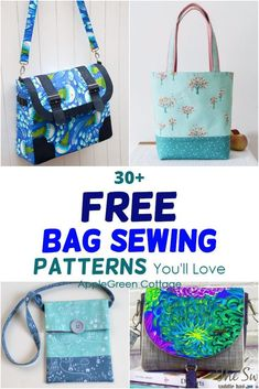 31 Best Free Bag Sewing Patterns for You - Apple green Cottage Duffle Bag Patterns, Messenger Bag Patterns, Handbag Patterns, Bag Patterns To Sew, Sewing Patterns Free, Free Sewing, Diaper Bag Patterns, Messenger Bags, Bag Pattern Free