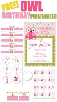FREE OWL BIRTHDAY PARTY PRINTABLES