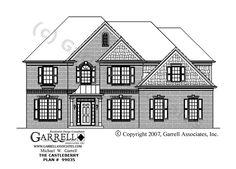 Castleberry House Plan # 99035, Front Elevation,  Master Up House Plans, Traditional Style House Plans