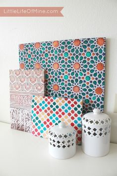 Little Life of Mine - DIY Colorful Moroccan Pattern Canvases Diy Art Projects Canvas, Diy Canvas, Large Canvas, Large Art, Diy Beauty Projects, Diy Projects, Mason Jar Flower Arrangements, Morrocan Decor, Moroccan Art