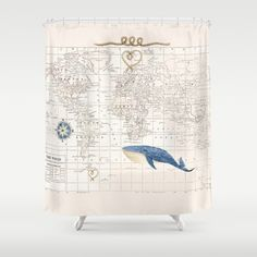 World Map with Whale Shower Curtain  compass rose by Mapology